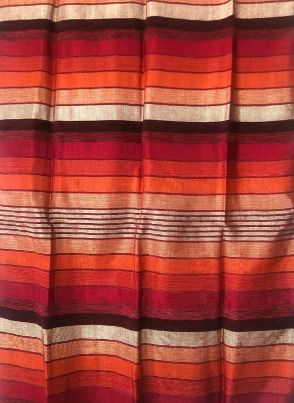 Handmade Moroccan Cranberry and Orange Striped Sabra Silk Scarf