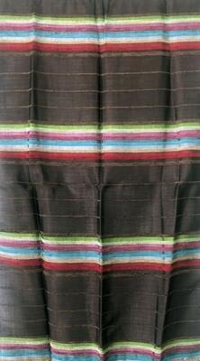 Handmade Moroccan Dark Brown and Multi-Colour Striped Sabra Silk Scarf