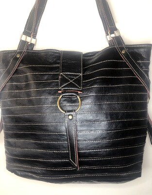 Black Moroccan Leather Tote Bag Shoulder Bag Shopper