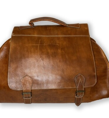 Tan Moroccan Leather Weekend/Bowling Bag