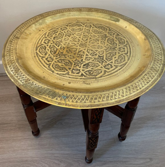 Moroccan Brass and Wood Tray Table