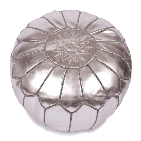 Hand Made Moroccan Silver Leather Pouffe