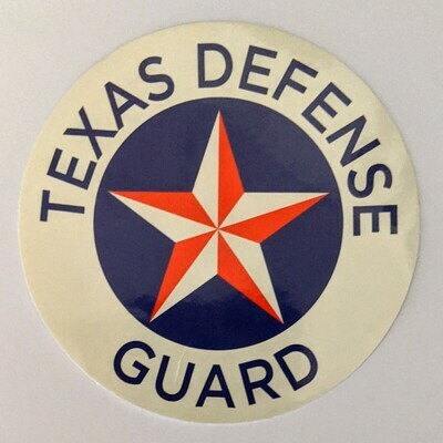 VINTAGE WWII DESIGN FOR TEXAS DEFENSE GUARD - 3.5 INCH VINYL DECAL