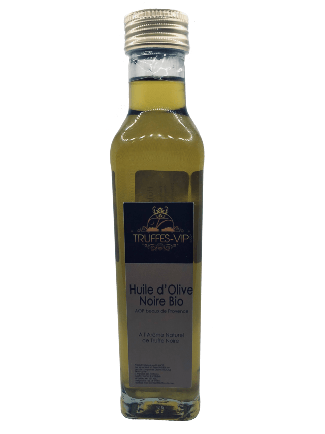 Organic black olive oil with natural black truffle flavor