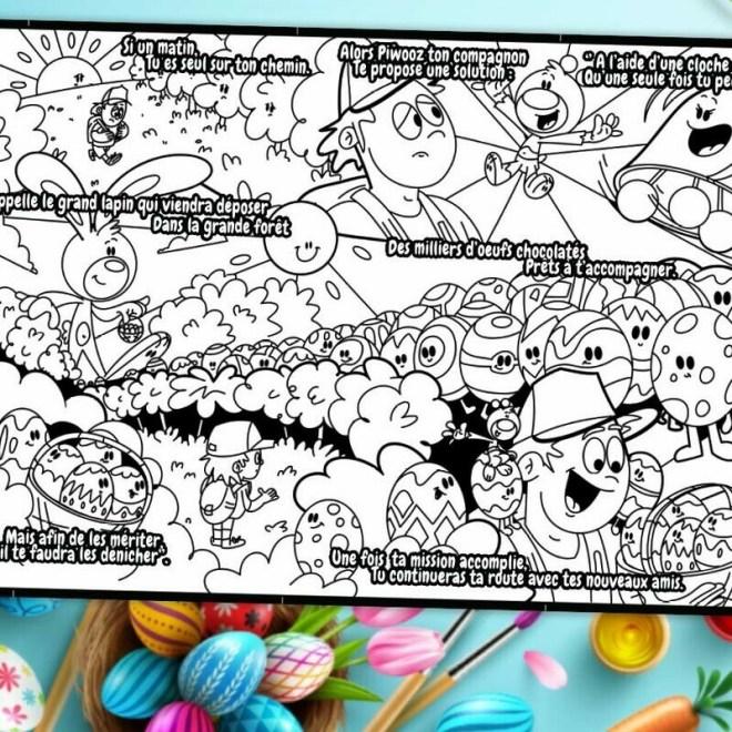L'histoire à colorier Piwooz - Le Piwooz de Pâques