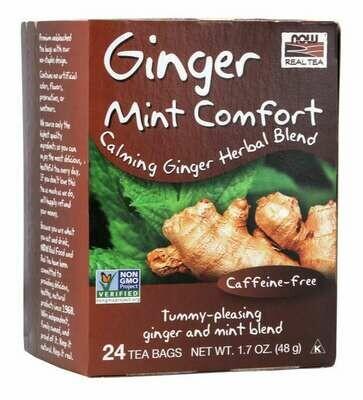 NOW Tea Ginger Mint Comfort 24ct