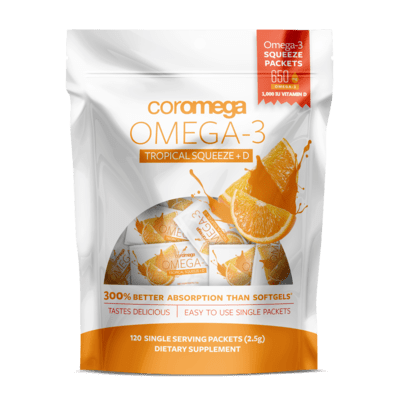 Coromega Omega-3 Fish Oil Tropical Squeeze+D 120 Packet