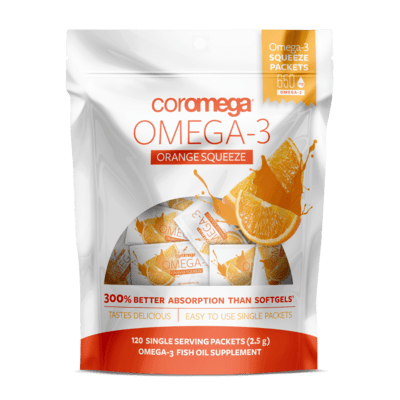 Coromega Omega-3 Fish Oil Orange Squeeze 120 Packet