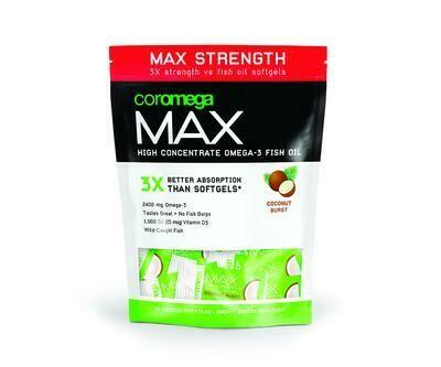 Coromega Max Coconut Bliss Omega-3 Fish Oil 30 Packet