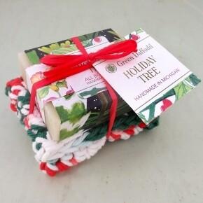 Green Daffodil Holiday Tree Soap And Washcloth Set