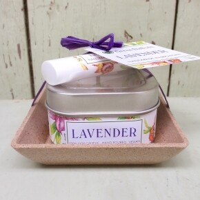 Green Daffodil Lavender Candle And Lip Balm Dish Kit