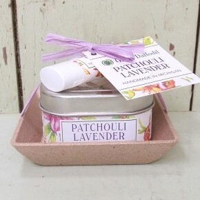 Green Daffodil Patchouli Lavender Candle And Lip Balm Dish Kit