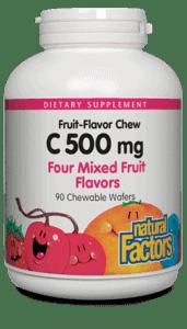Natural Factors Vitamin C 500mg Four Mixed Fruits Chw Tab 90