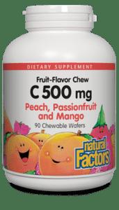 Natural Factors Vitamin C 500mg Peach, Passion fruit, and Mango Chw Tab 90