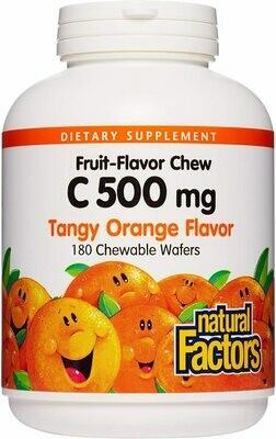 Natural Factors Vitamin C 500mg Tangy Orange Chw Tab 180
