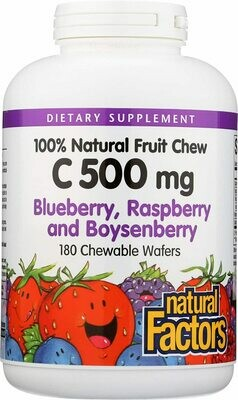 Natural Factors Vitamin C 500mg Blueberry, Raspberry, And Boysenberry Chew 180 Tab