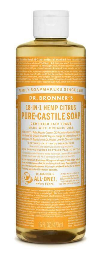 Dr. Bronner's 18-in-1 Hemp Citrus Pure Castile Soap 16oz