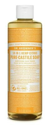Dr. Bronner's 18-in-1 Hemp Citrus Pure Castile Soap 16oz