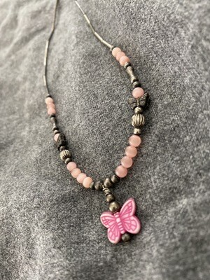 "14"" Pink Butterfly Necklace, Beaded"