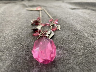 """20"""" Leaf Necklace, Pink Jewel Color, With Heart Shaped Earings"""