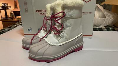 Cat & Jack, Girls Roma, Winter Boots, White, Sz 5