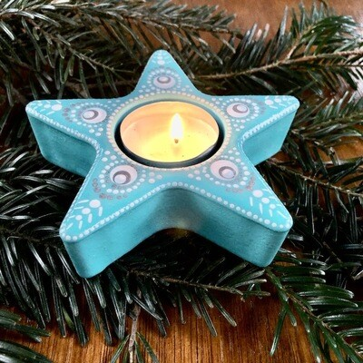 Bright Little Star Tea Light Holder Light blue dotted