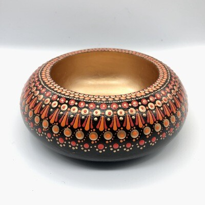 Small Dotted Trinket Bowl Black/Red/Orange and Copper Colours