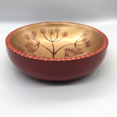 Hand-cast, hand painted dish with seed head design Red