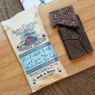 Farmhouse 70% Dark Chocolate with Cacao Nibs & Sea Salt Chocolate Bar