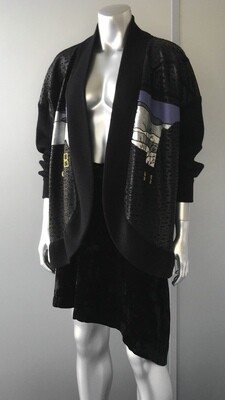 JAPANESE LEATHER AND WOOL CARDIGAN