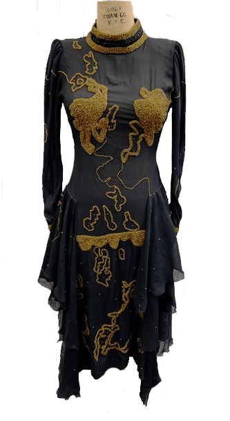 80s Embroidered dress