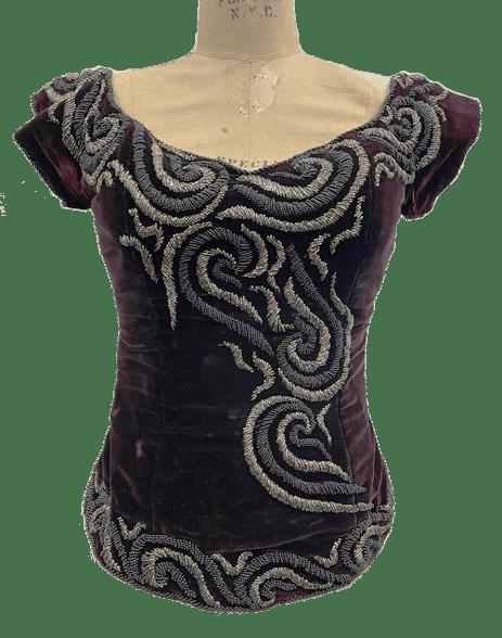 1940s velvet embroidered corset