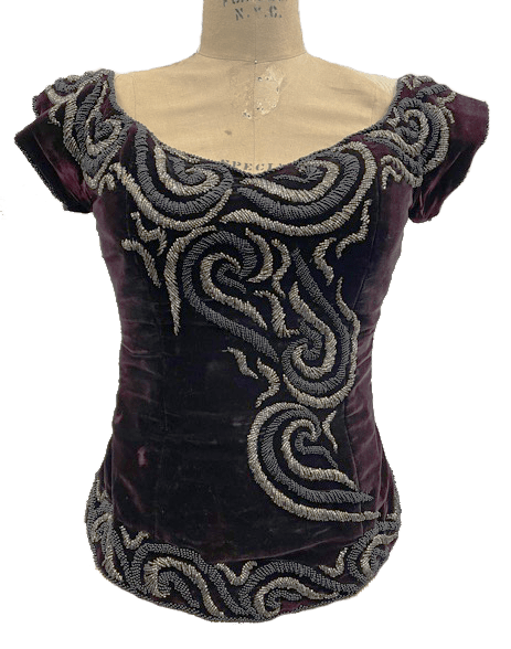 1940s velvet embroidered corset