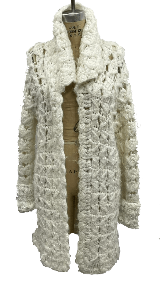 70s Off-white hand-knit Cardigan