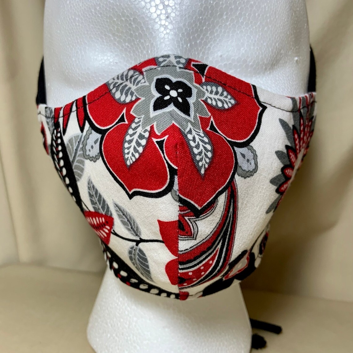 Red & Black Floral Face Covering - Small - Non-Medical