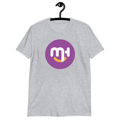 Meck Designs Fashionable Faces | Purple Circle Branded Front | Short-Sleeve Unisex T-Shirt