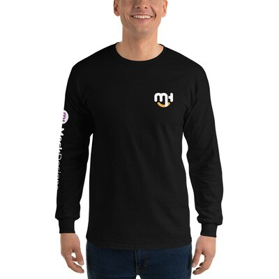 Meck Designs Fashionable Faces | White Smiling Emblem Front & Left Horizontal Branded Arm | Men's Long Sleeve Shirt