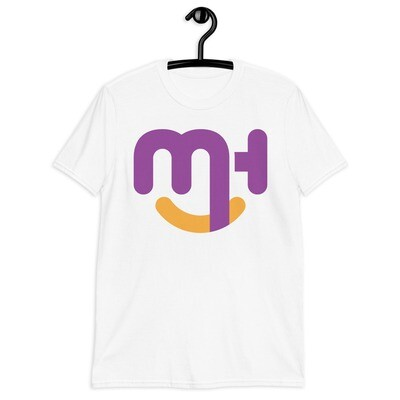 Meck Designs Fashionable Faces | Purple Smiling Emblem Branded Front | Short-Sleeve Unisex T-Shirt