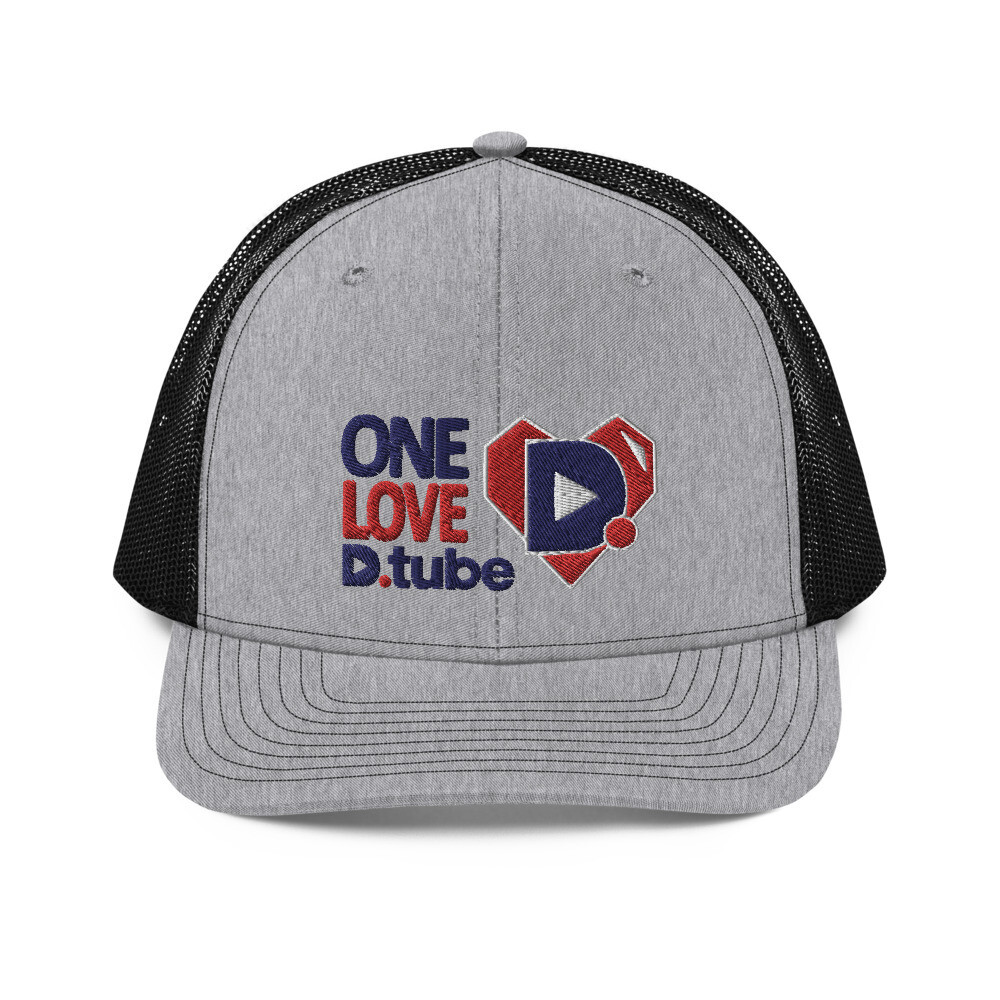 One Love D.Tube Blue & Red Embroidered Trucker Cap
