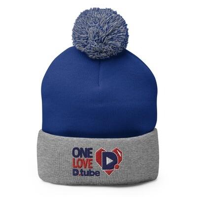 One Love D.Tube Blue & Red Embroidered Pom-Pom Beanie