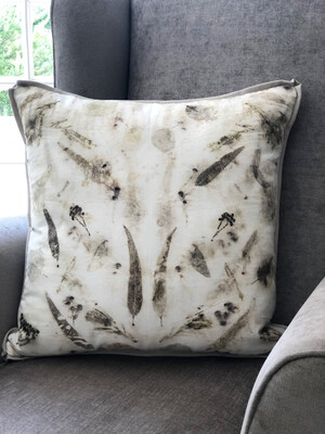 Cotton cushion cover hand dyed with eucalyptus leaves and fynbos - light grey linen backing with zip, cover only  Free shipping within South Africa.        60x60cm