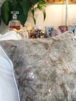 CC09 Cotton - Hand Dyed Eco Printed Hand Embroidered Cushion Cover