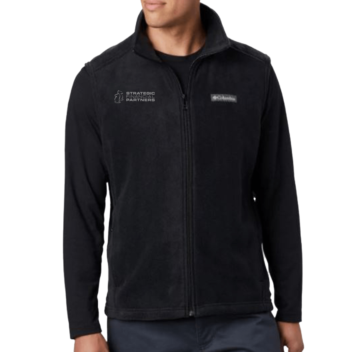 Branded Columbia Fleece Vest - Black