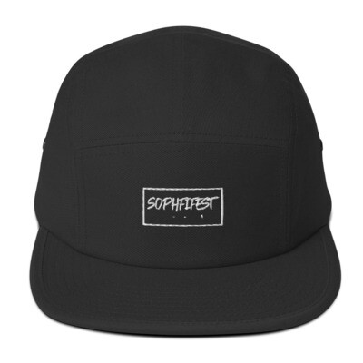 SOPHFIFEST - Five Panel Cap (rectangle, white text only with border, embroidered)