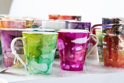 Set of 4 Bright & Colourful Mugs (Short)