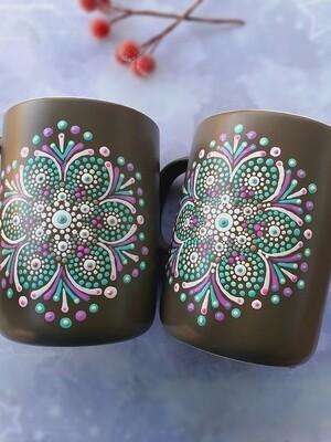 Ceramic Mug - Brown with Green and Pink