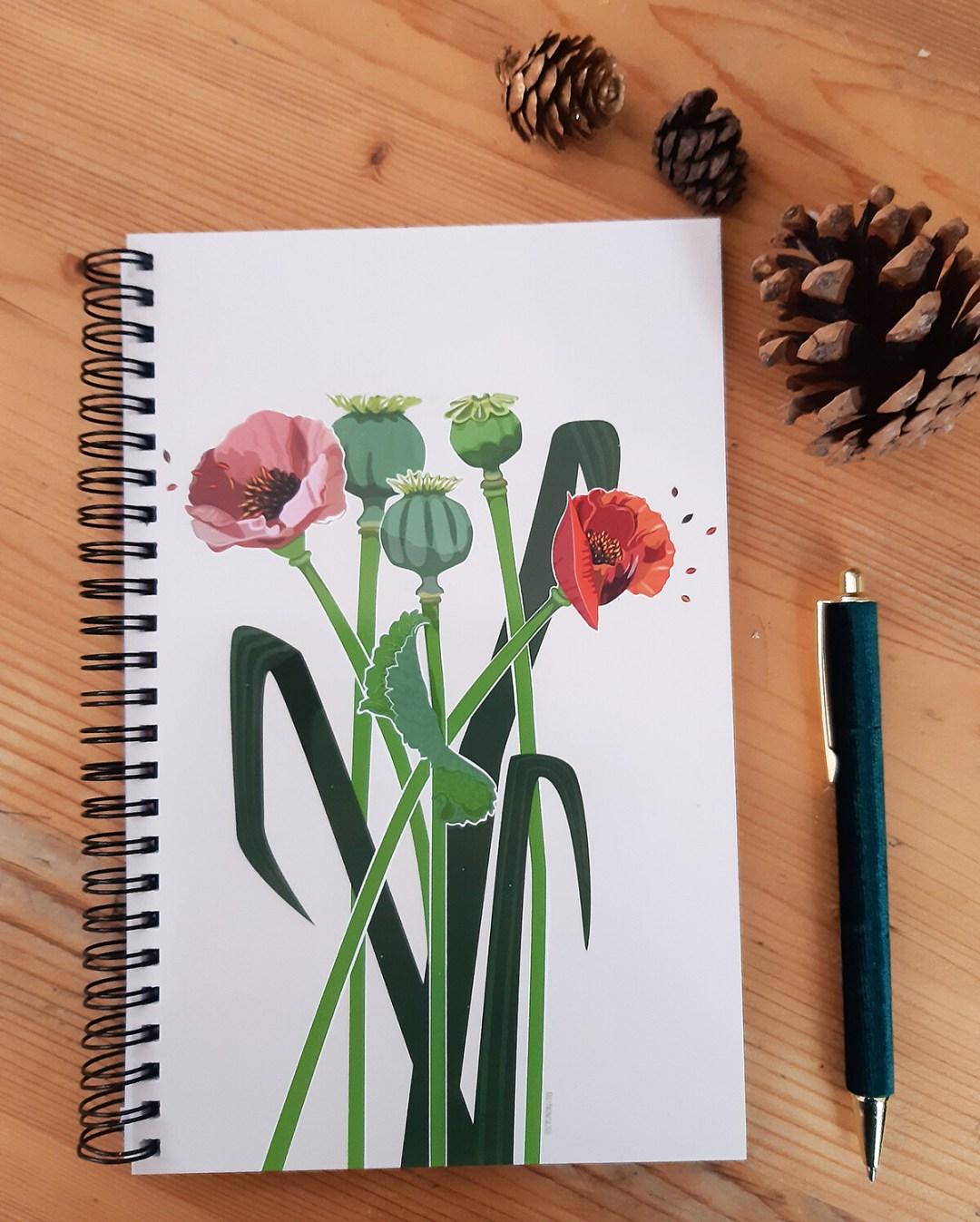 Lined Notepad with 2021 Calendar - Poppies