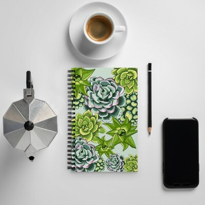 Spiral notebook with Succulent Print