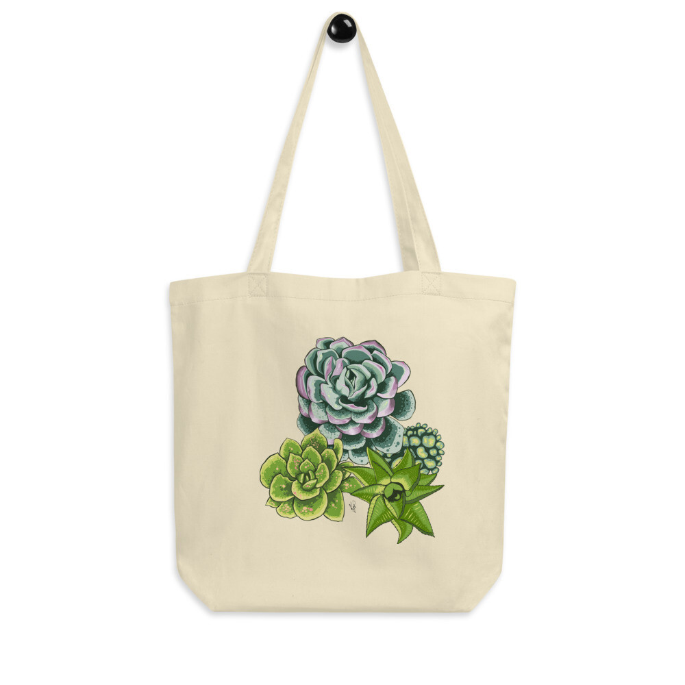 Eco Tote Bag - Green Spotted Succulents Print