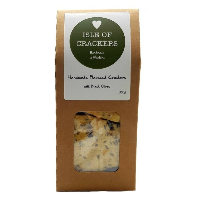 Isle of Crackers Handmade Flaxseed Crackers with Black Olives 150g